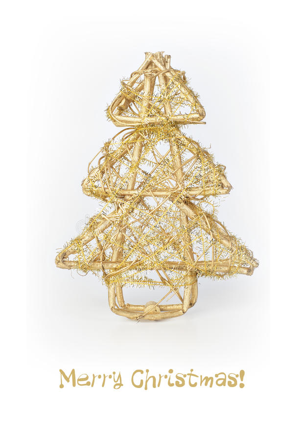 Free Christmas Card With Golden Christmas Tree Royalty Free Stock Photography - 26876817