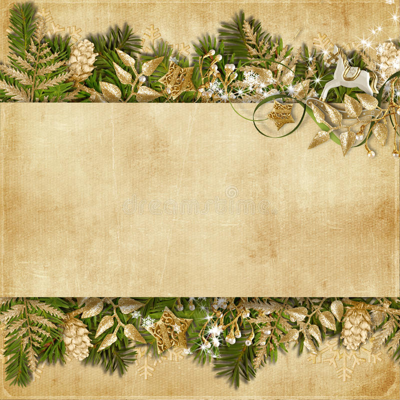 Free Christmas Card With Miraculous Garland On Vintage Background Royalty Free Stock Photography - 35141977