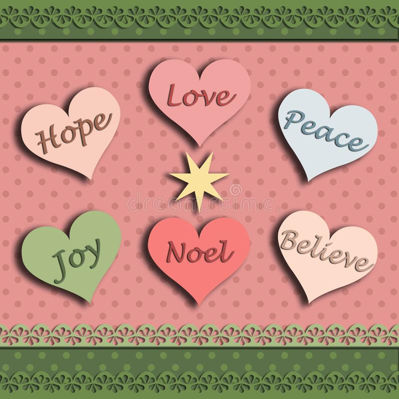 Christmas card with the word hope joy love believe peace noel stock illustration