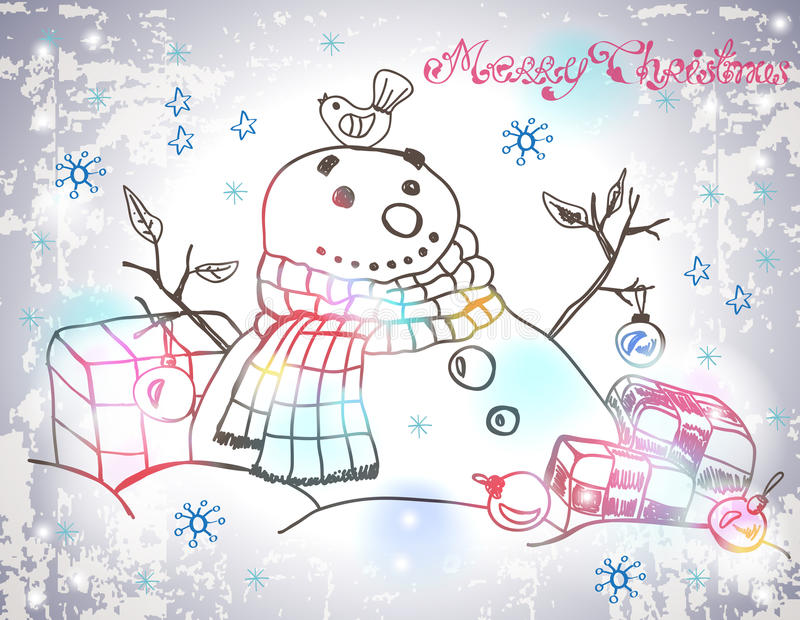Download Christmas Card For Xmas Design With Hand Drawn Snowman Stock Images - Image: 31599584
