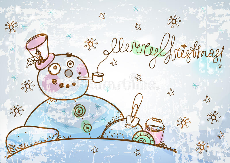 Christmas Card For Xmas Design With Hand Drawn Snowman Royalty Free Stock Image
