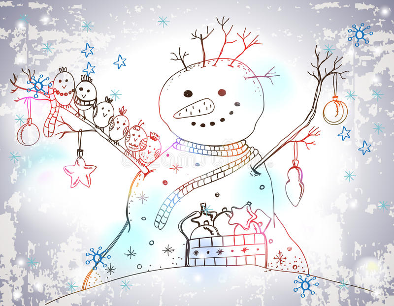 Download Christmas Card For Xmas Design With Snowman Stock Illustration - Image: 31599611