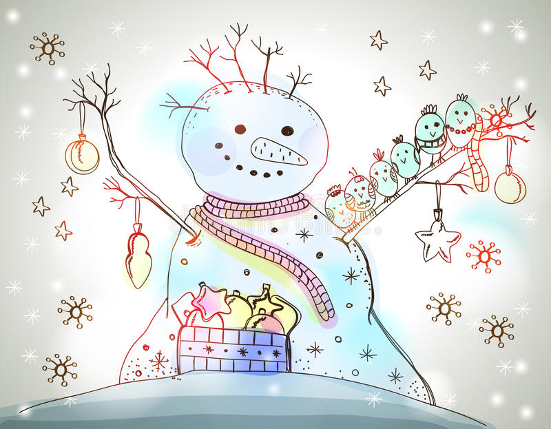 Download Christmas Card For Xmas Design With Snowman Stock Images - Image: 31599614