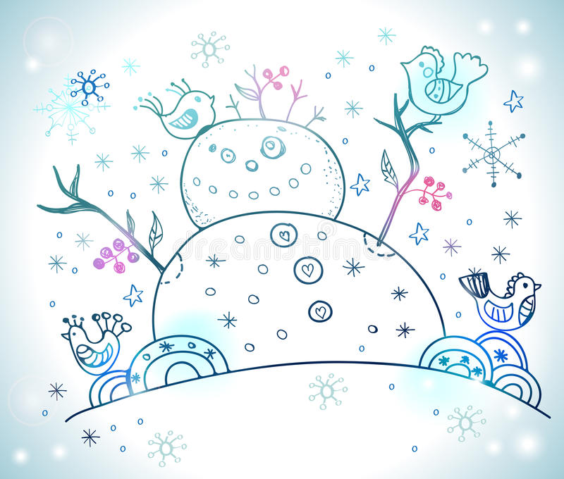 Christmas Card For Xmas Design With Snowman Stock Images