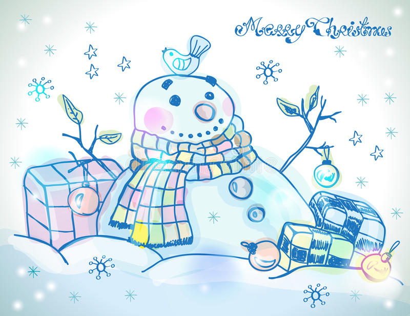 Download Christmas Card For Xmas Design With Snowman Stock Illustration - Image: 31599585