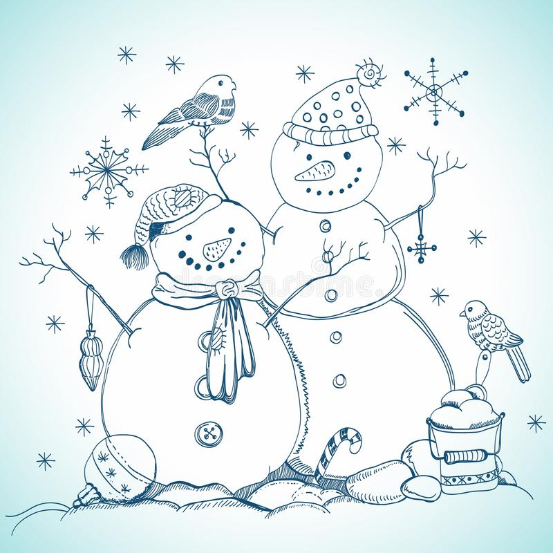 Download Christmas Card For Xmas Design With Snowmen Stock Vector - Image: 27424593
