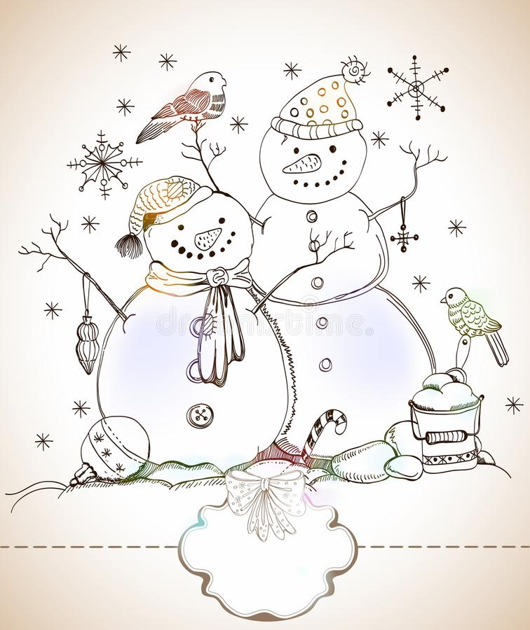 Download Christmas Card For Xmas Design With Snowmen Stock Vector - Image: 27424602
