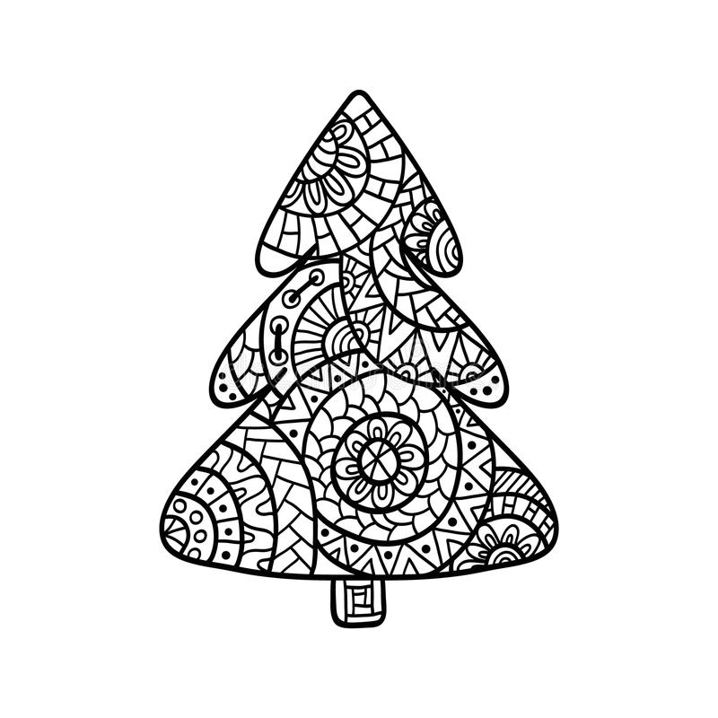 Christmas card in zentangle style for adult anti stress. Christmas tree. Christmas card in zentangle style for adult anti stress. Coloring page with high royalty free illustration