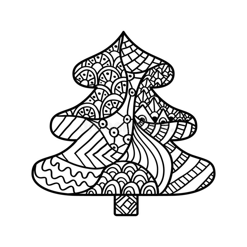 Christmas card in zentangle style for adult anti stress. Christmas tree. Christmas card in zentangle style for adult anti stress. Coloring page with high vector illustration
