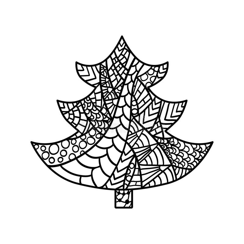 Christmas card in zentangle style for adult anti stress. Christmas tree. Christmas card in zentangle style for adult anti stress. Coloring page with high stock illustration