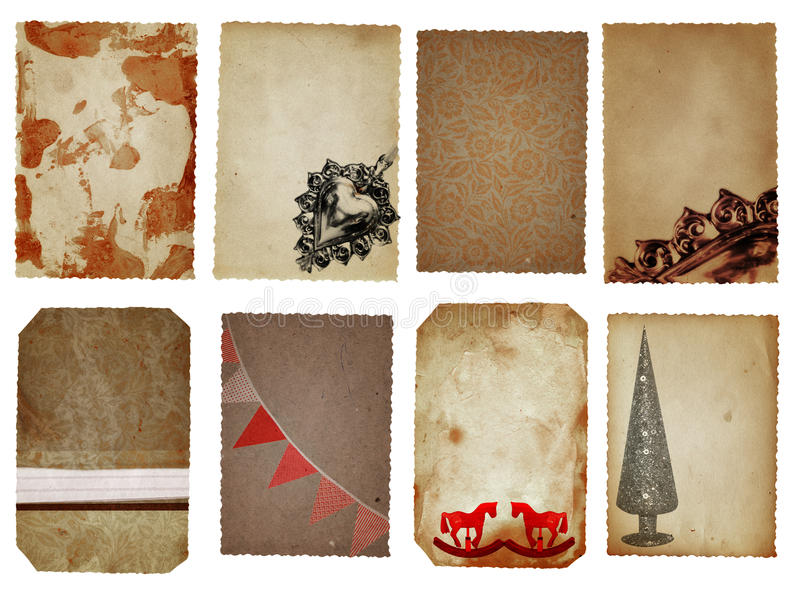 Christmas cards. Christmas decoration cards in brown, red and silver with Christmas tree, flags, horses and floral textures