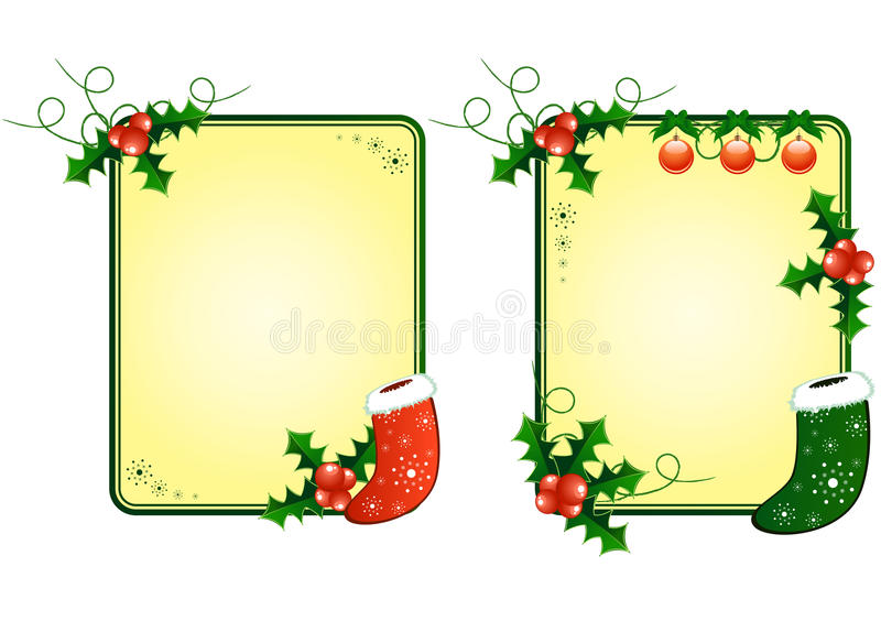 Christmas Cards With Berries And Socks Stock Photo