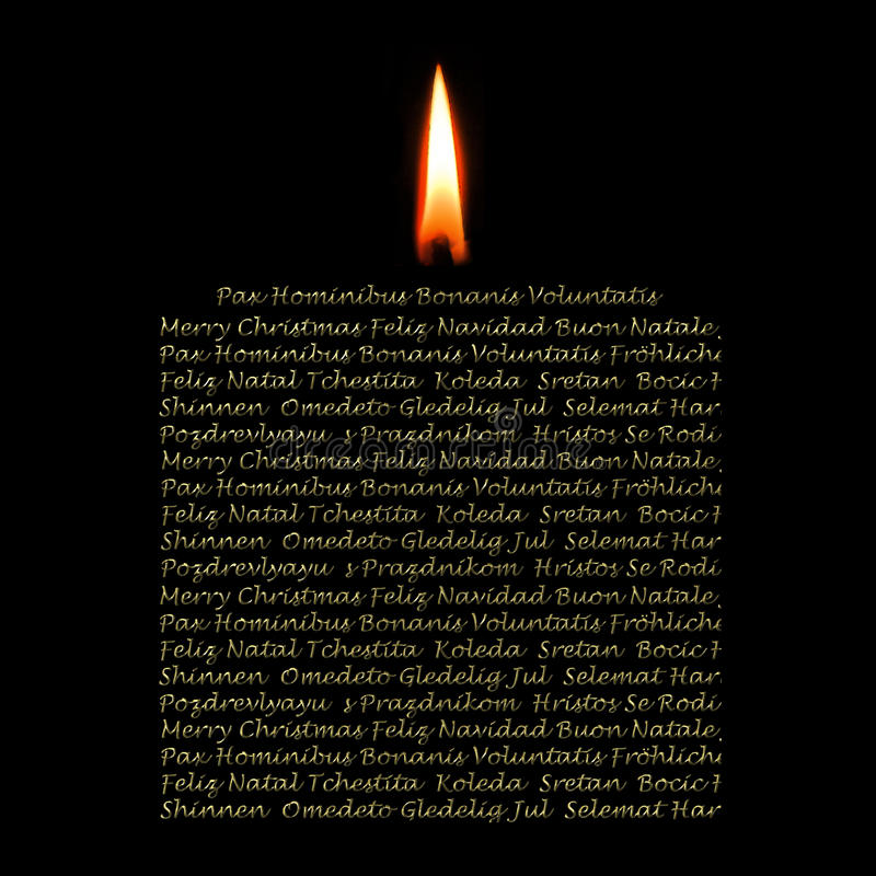 Download Christmas Cards Candle In Many Languages Stock Illustration - Image: 21786112