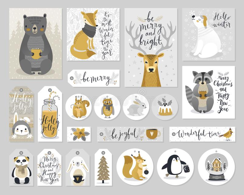 Christmas cards and gift tags set, hand drawn style. Vector illustration royalty free illustration