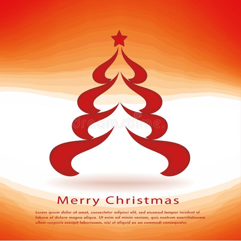 Christmas cards with red Christmas tree royalty free illustration