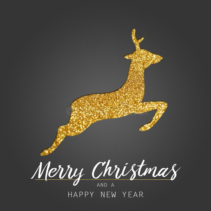 Christmas cards with reindeer and stars with grey and red background and message merry christmas and a happy new year 2020 vector illustration
