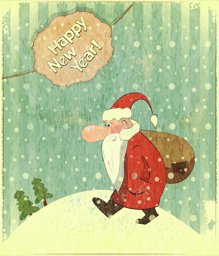 Christmas cards with Santa and text Happy New Year royalty free stock photos
