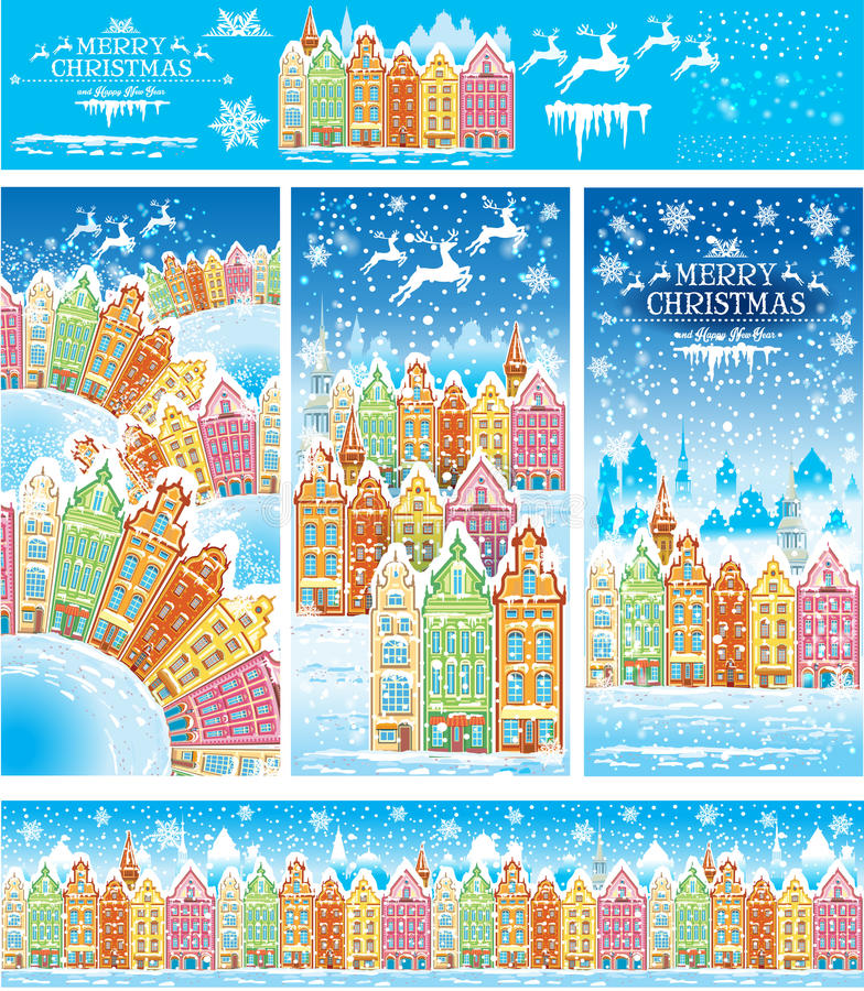 Christmas cards of a snowy old town vector illustration