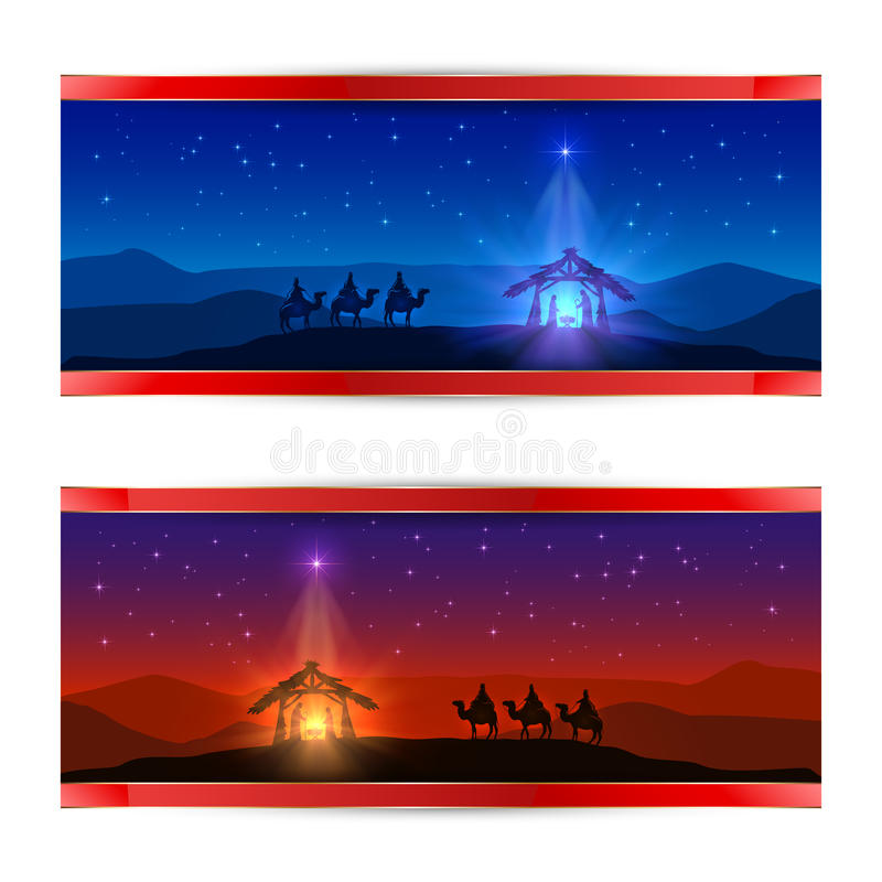 Christmas cards with star and birth of Jesus vector illustration