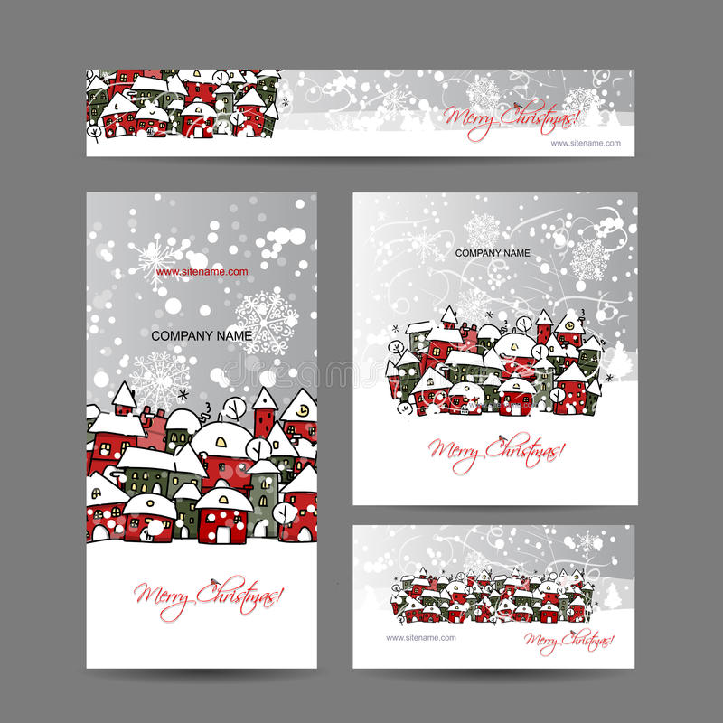 Christmas cards with winter city sketch for your stock illustration