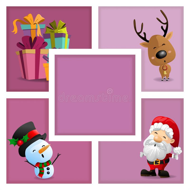 Free Christmas Cards With Santa, Snowman, Gift Box And Reindeer Royalty Free Stock Photos - 106426498