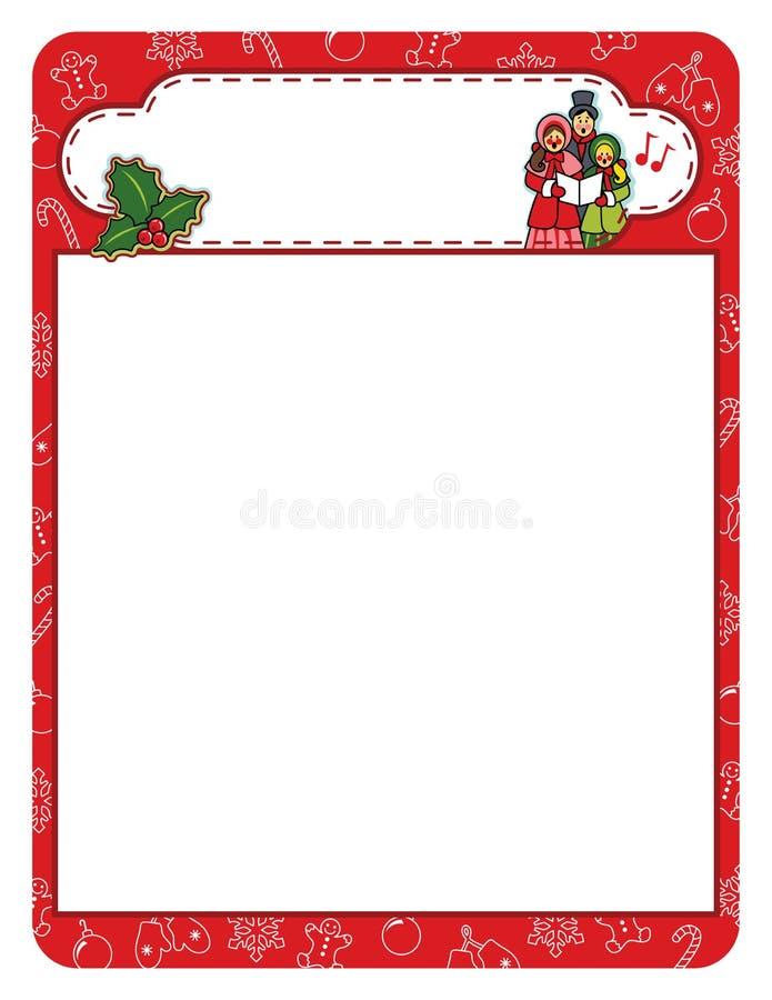 Christmas carol holiday frame border vector illustration
