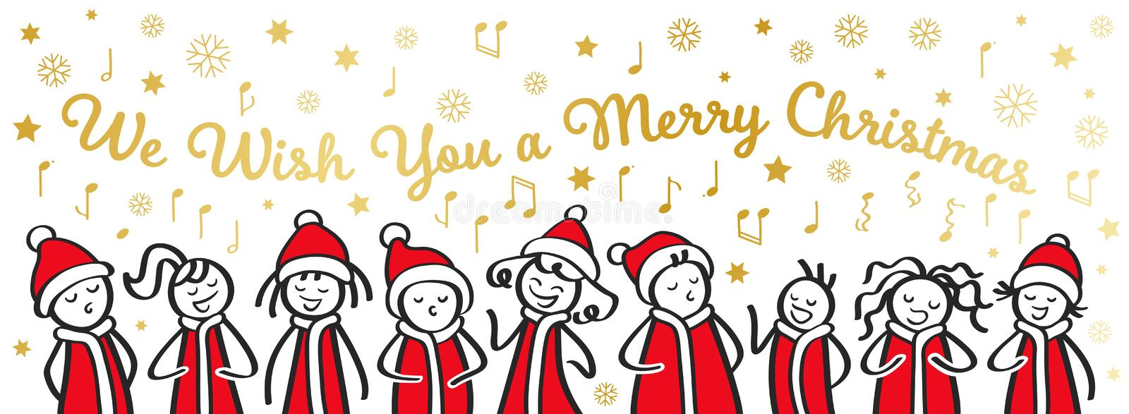 Christmas Carol singers, choir, funny men and women singing We wish you a merry Christmas, stick figures in santa costumes, banner vector illustration