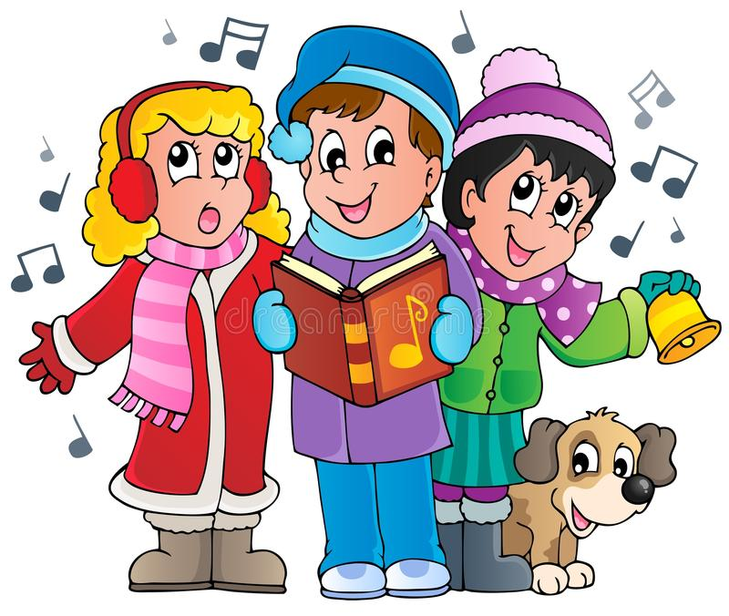 Christmas carol singers theme 1 royalty free illustration