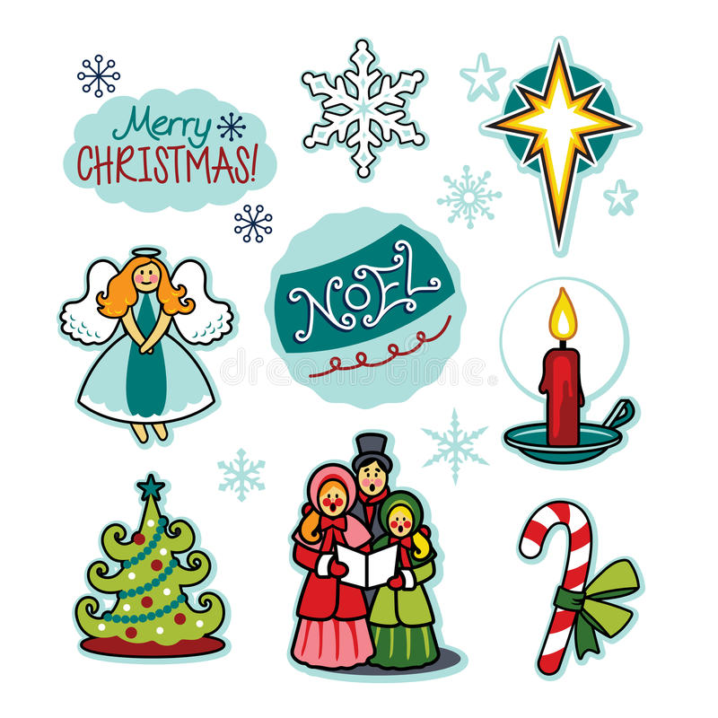Christmas carolers holiday cheer illustration set. Christmas carolers and more are featured in this vector created illustration set. Bring forth holiday cheer vector illustration