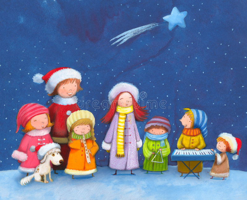 Christmas carols stock illustration
