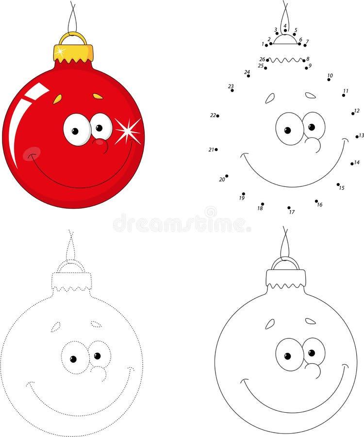 Christmas cartoon ball. Dot to dot game for kids. Christmas cartoon ball. Dot to dot educational game for kids stock illustration