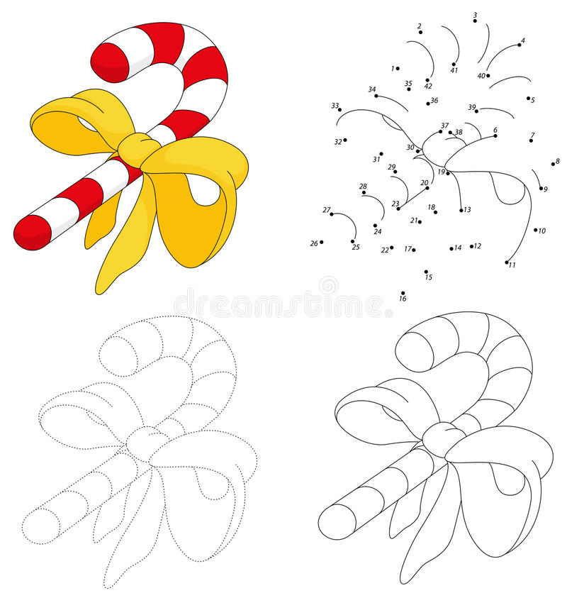 Christmas cartoon candy cane. Dot to dot game for kids royalty free illustration