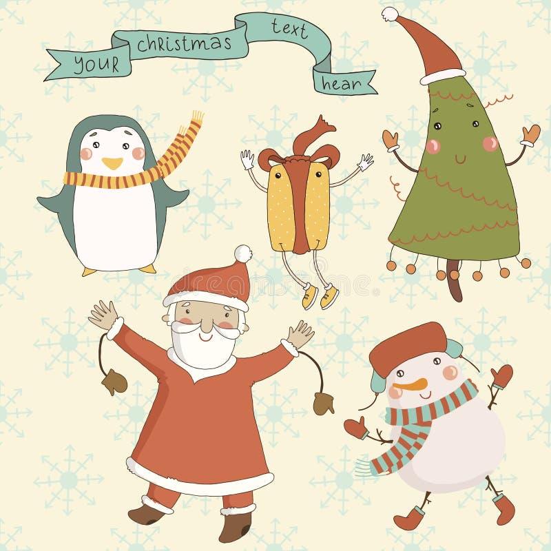 Christmas cartoon characters against a snowy backg vector illustration