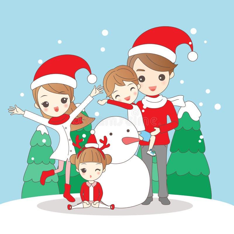 Christmas cartoon family royalty free illustration