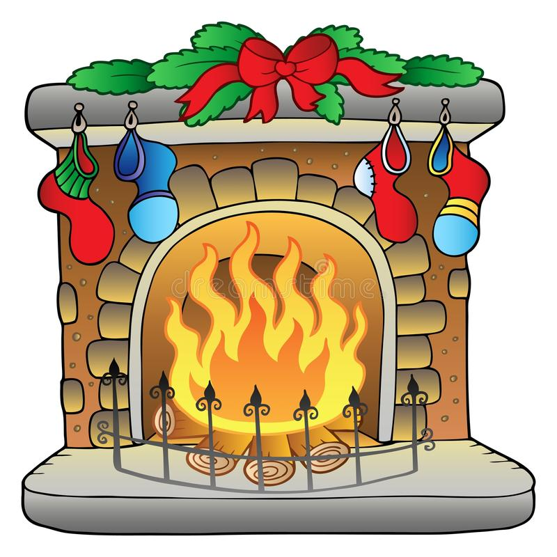 Foyer Clipart : Christmas cartoon fireplace stock vector illustration of