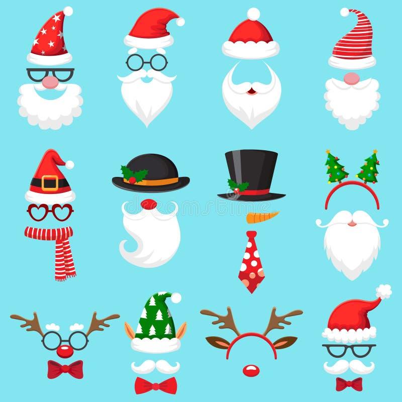 Christmas cartoon hats. Xmas santa hat, elf cap and reindeer photo mask. Santas beard and mustaches vector set royalty free illustration