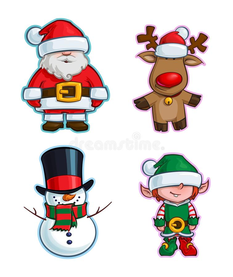 Christmas Cartoon Icon Set - Santa Claus Red-Nose Reindeer Snowman Elf royalty free illustration