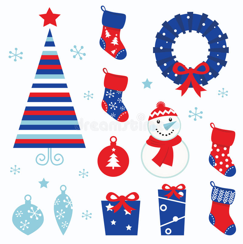 Download Christmas Cartoon Icons & Elements (red, Blue) Stock Vector - Image: 21756494