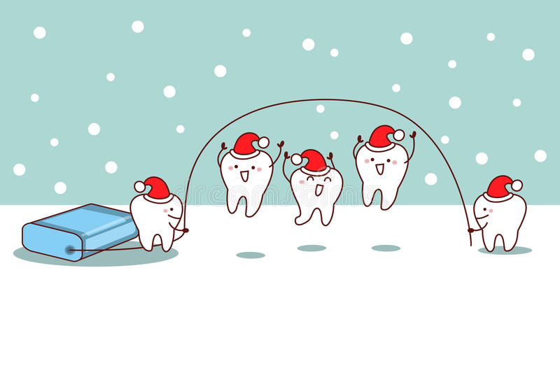 Christmas cartoon tooth with floss. Great for dental care concept royalty free illustration