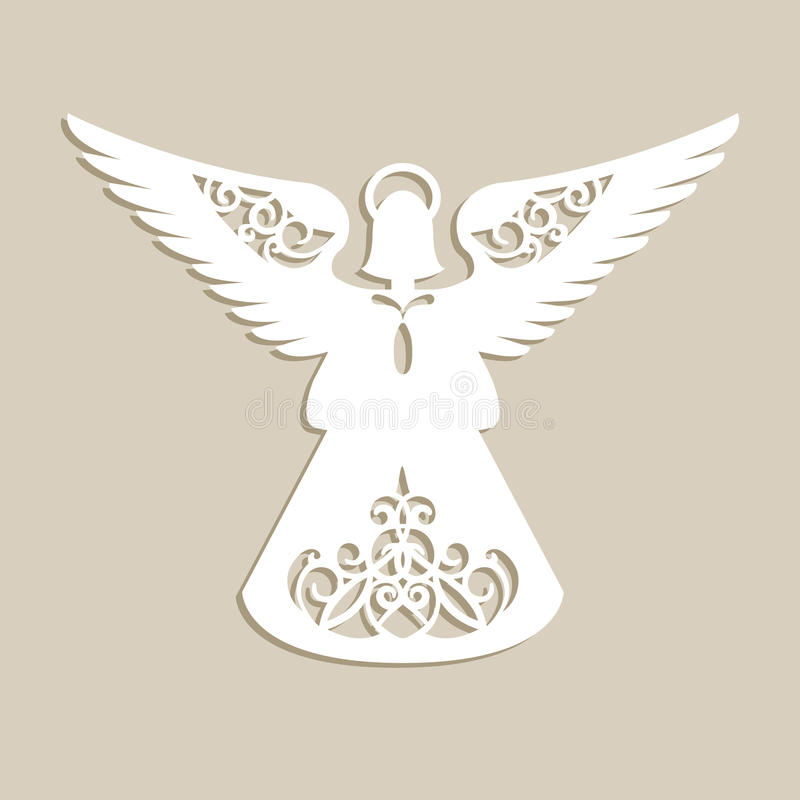 Christmas carved openwork angel stock vector image 81119703 for Angel tree decoration template