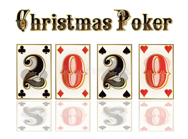 Christmas casino card, New 2020 year. Vector illustration royalty free illustration