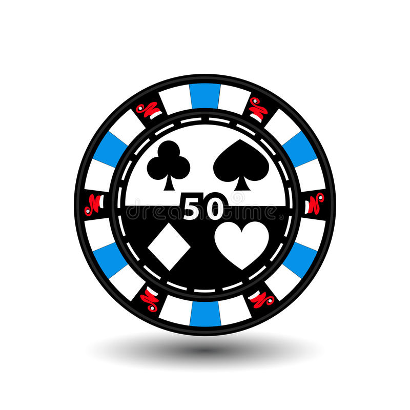 Christmas casino chips. Blue. Santa cap on the sides and the number of fifty in the middle. Illustration . Use for the site,. Printing, paper, cloth, decoration royalty free illustration