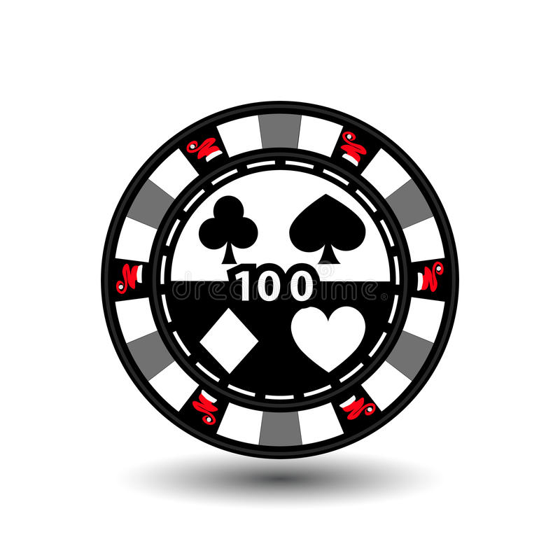 Christmas casino chips. Green. Santa Claus cap on the sides and the number 100 in the middle. Illustration . Use for the sit royalty free illustration