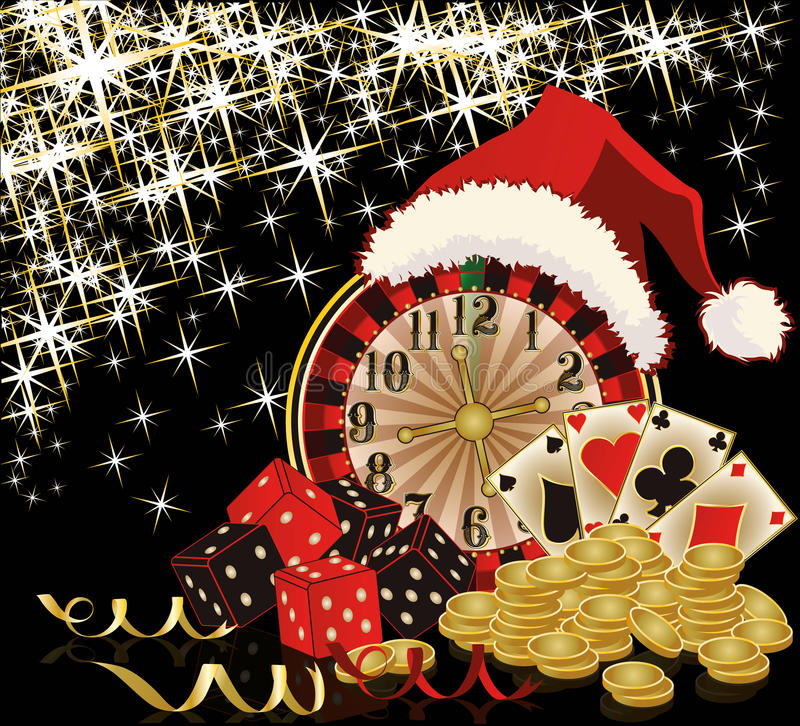 Christmas casino and happy new year card. Vector illustration stock illustration