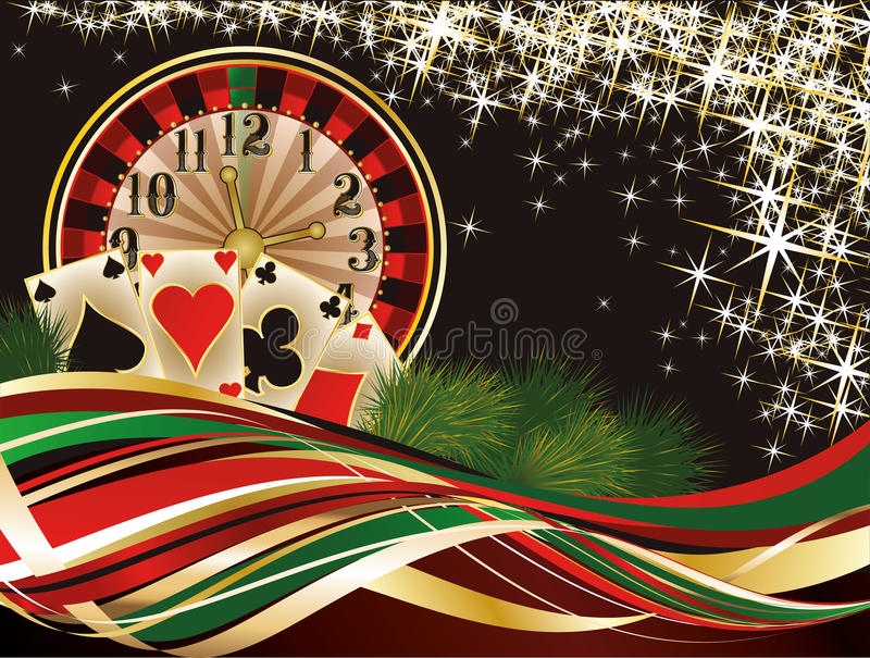 Christmas casino invitation background. Vector illustration stock illustration