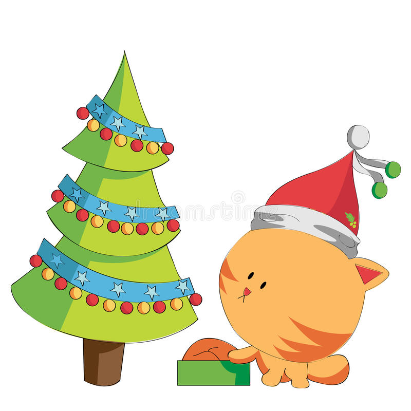 Christmas cat royalty free illustration