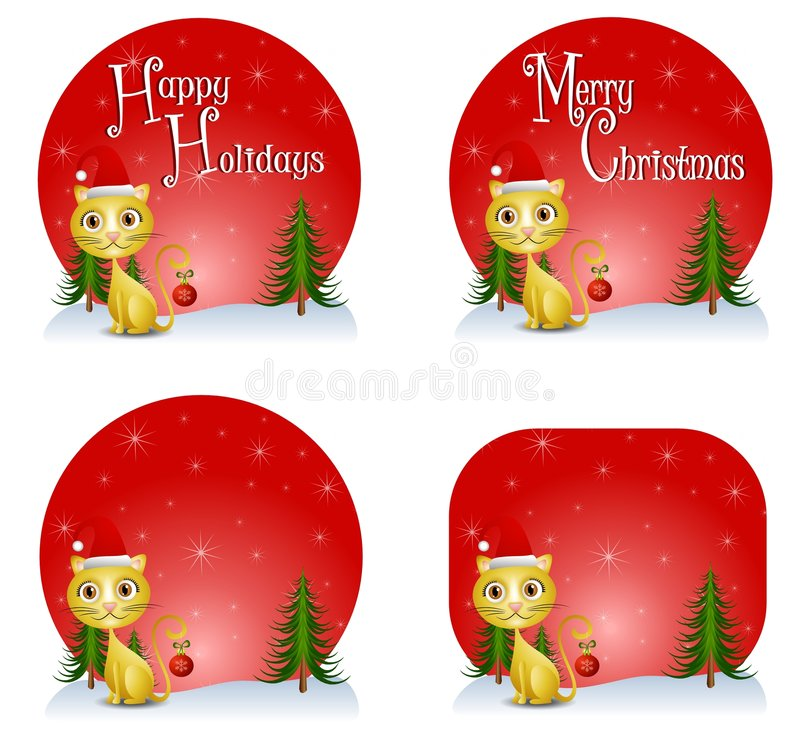 Christmas Cat Backgrounds. A background illustration featuring your choice of Christmas background with cute kitten dressed in Santa hat and holding an ornament stock illustration