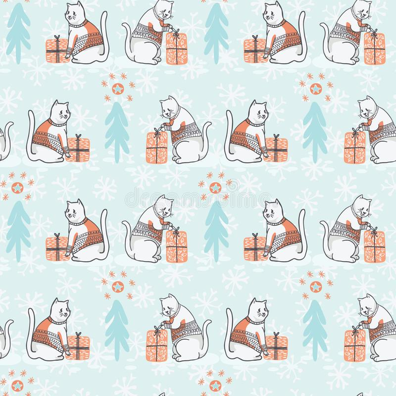 Christmas Cat in Embroidery Sweater Seamless Vector Pattern vector illustration