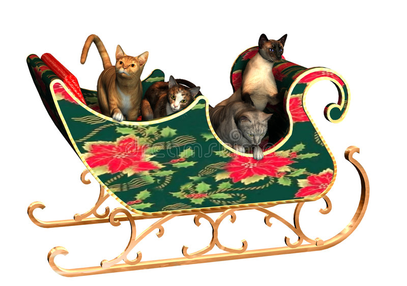 Christmas Cats. 3D render of four cats in a Christmas sleigh