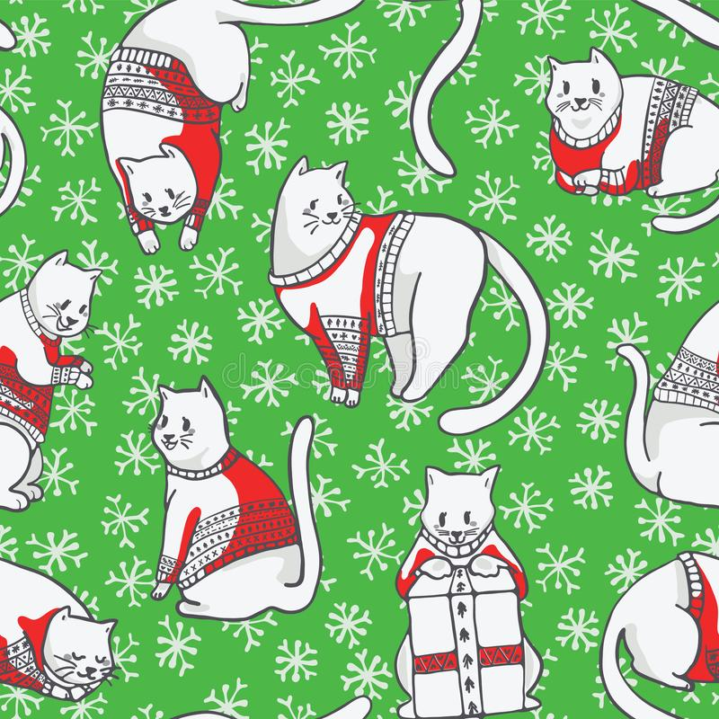 Christmas Cats in Knitted Sweaters Seamless Vector Pattern. Hand Drawn Illustration for Winter Fashion Print, Holiday Stationery, Xmas Decor, Gift Wrap, Cat stock illustration